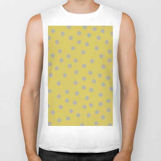 Simply Dots Retro Gray on Mod Yellow Biker Tank