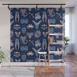 Geometric astrology zodiac signs // navy blue and coral Wall Mural