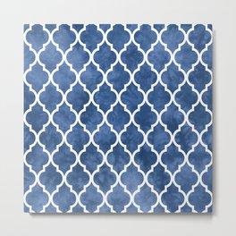 Classic Quatrefoil Lattice Pattern 904 Blue Metal Print