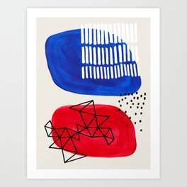 Fun Abstract Minimalist Mid Century Modern Colorful Shapes Red Blue Color Harmony Watercolor Bubbles Art Print