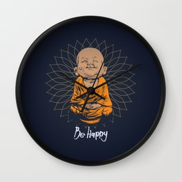 Be Happy Little Buddha Wall Clock