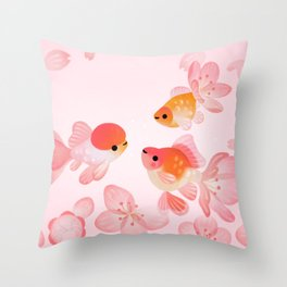 Cherry blossom goldfish Throw Pillow