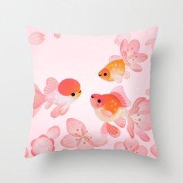 Cherry blossom goldfish Throw Pillow