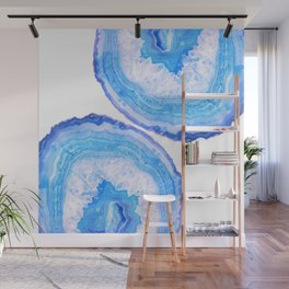 Blue Agate Slices Wall Mural