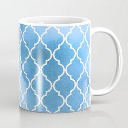 Moroccan Trellis, Latticework, Watercolors - Blue Coffee Mug