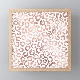 Chic Rose Gold Leopard Cheetah Animal Print Framed Mini Art Print