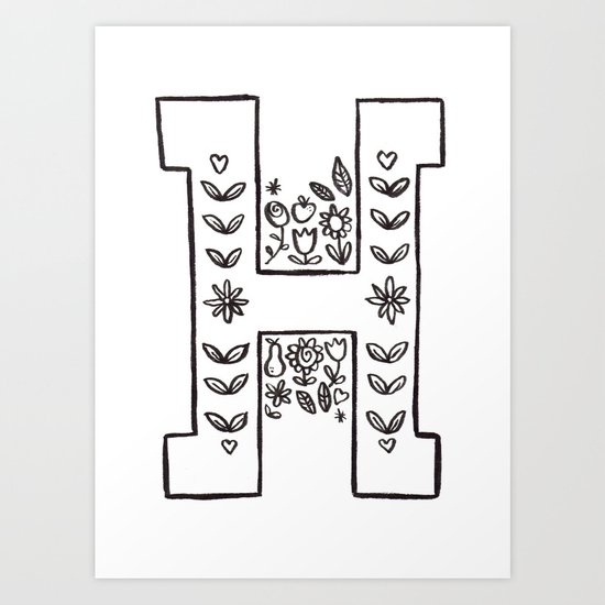 H is for Art Print