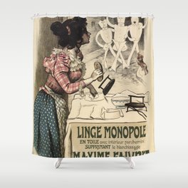 Vintage French linen advertising Shower Curtain
