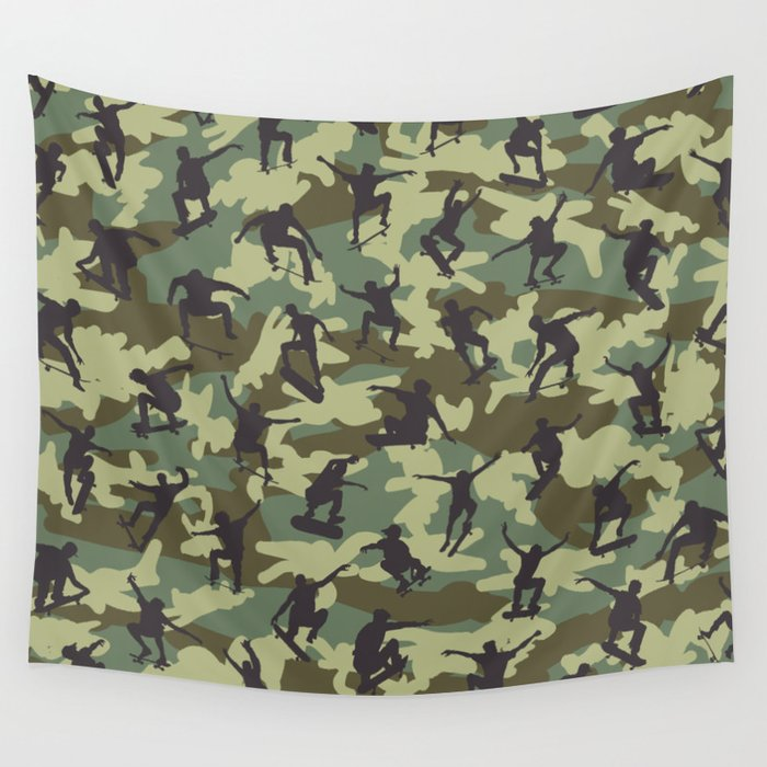 Skater Camo WOODLAND Wall Tapestry