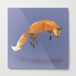 Low Poly Flying Red Fox Metal Print