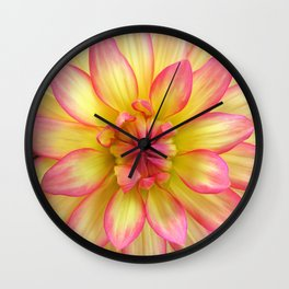 Pink and Yellow Dahlia Flower / Nature Macro Photography Wall Clock