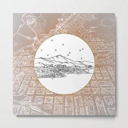Colorado Springs, Colorado City Skyline Illustration Drawing Metal Print