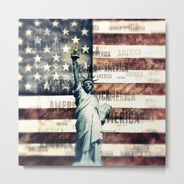 Vintage Patriotic American Liberty Metal Print