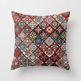 (N19) Colored Floral Moroccan Traditional Bohemian Artwork Throw Pillow