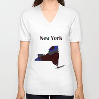 new york map V-neck T-shirts featuring New York Map by Roger Wedegis