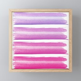 Simply hand painted pink and magenta stripes on white background  2 - Mix and Match Framed Mini Art Print