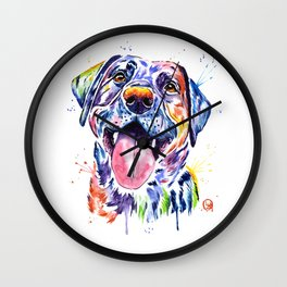Black Lab Colorful Watercolor Pet Portrait Painting Wall Clock