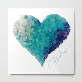 Love - Aqua Sea Glass Heart Metal Print