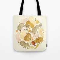 Tote Bags featuring Things Squirrels Probably Shouldn't Be Eating by Teagan White