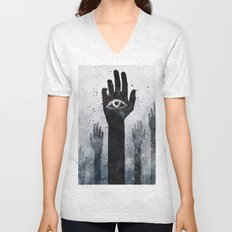 Hands & Eyes #Abstract Unisex V-Neck
