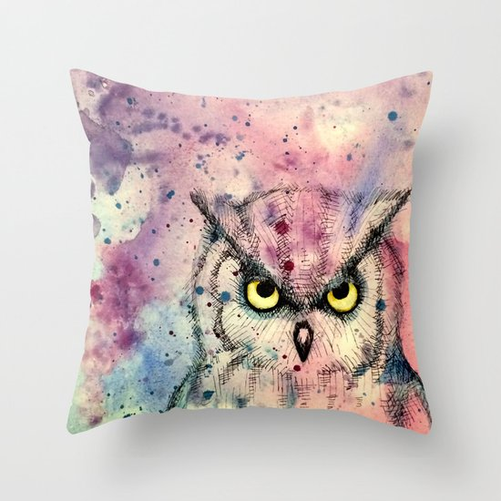 Owl Watercolor/Pen&Ink Throw Pillow