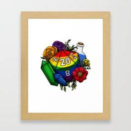 Pride Rainbow D20 Tabletop RPG Gaming Dice Framed Art Print