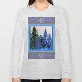 GREY WINTER SNOWFLAKE  CRYSTALS FOREST ART Long Sleeve T-shirt
