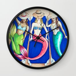 Sunbathing Mermaids Wall Clock