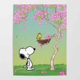 Woodstock in the Cherry Blossoms Posters Poster