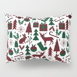 Plaid antler deer stocking christmas pudding christmas trees candy canes Pillow Sham