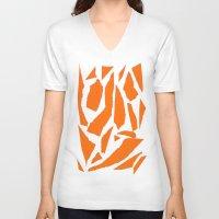 orange pattern V-neck T-shirts featuring Orange by osile ignacio