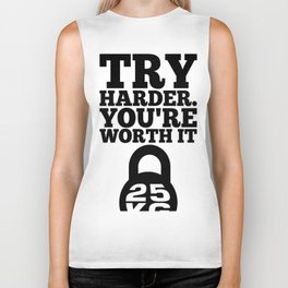 Lab No. 4 - Try Harder You Are Worth It Gym Inspirational, Motivational Quotes Poster Biker Tank