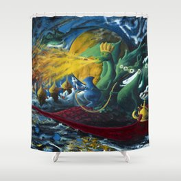 Dragons on a Flying Carpet Shower Curtain