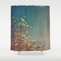 woodstock Shower Curtains featuring Head in the Clouds by Olivia Joy StClaire