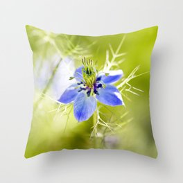 Blue Nigella Throw Pillow