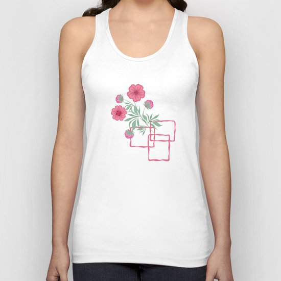 Red ,pink flowers on black background . Unisex Tank Top
