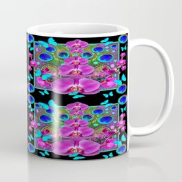 Four Panel Black Blue-Pink Orchids Butterflies Peacock Eyes Coffee Mug
