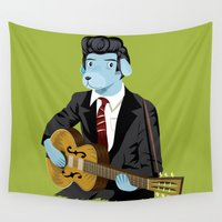 rockabilly Wall Tapestries featuring The Rockabilly Dog by Oliver Lake