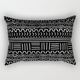 Mud Cloth on Black Rectangular Pillow