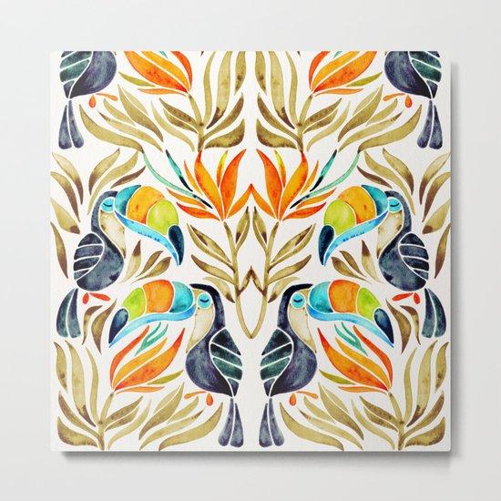 Tropical Toucans – Sepia Palette Metal Print