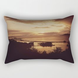 SUNSET AT THE RIVER MOUTH OF THE COLUMBIA RIVER BETWEEN ASTORIA, OREGON AND THE STATE OF WASHINGTON Rectangular Pillow