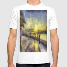 Bosphorus Sunset Van Gogh White MEDIUM Mens Fitted Tee