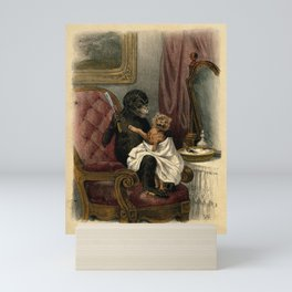 A barber about to shave an unwilling client with anthropomorphic participants. Reproduction of a col Mini Art Print