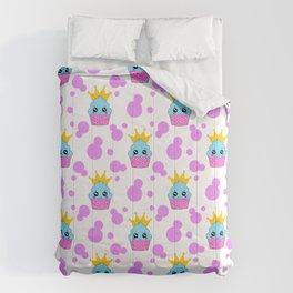 Cute little princess baby kawaii cupcakes, bold pink retro dots pretty purple girly nursery pattern Comforters