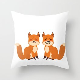 cute fox, boy and girl with funny face and fluffy tails on white background Throw Pillow