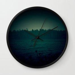 Dark Teal Field Wall Clock