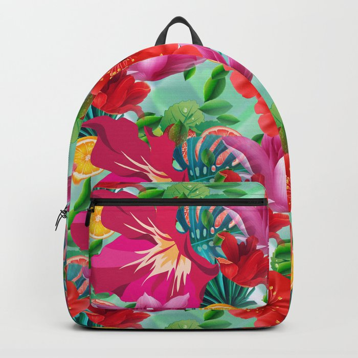 Tropical Summer Flower And Fruit Pattern Backpack