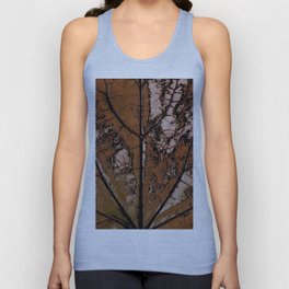 OLD BROWN LEAF WITH VEINS SHABBY CHIC DESIGN ART Unisex Tank Top