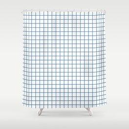 Minimalism Window Pane Grid, Blue on White Shower Curtain