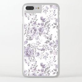 FLORAL VINTAGE ROSES MAUVE WHITE Clear iPhone Case